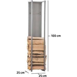 Porte-bûches Spark acier acier affiné 25x25x100 cm - BAUWERK MANUFACTURE
