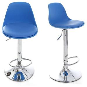 Lot de 2 tabourets de bar design bleus STEEVY - MILIBOO