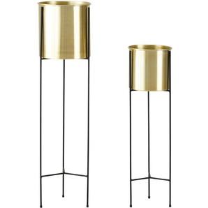 2 cache-pots en métal doré et noir H87
