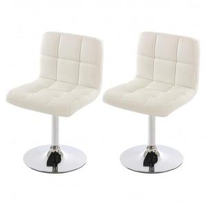 Lot de 2 chaises fauteuils de salle à manger en simili-cuir blanc - DéCOSHOP26