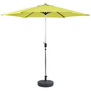 Parasol jardin droit Alu Sol - Rond - Ø 3m - Vert - avec pied lesté - HABITAT ET JARDIN