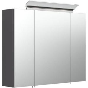 Armoire de toilette avec miroirs et Lampe LED acrylique 80cm Anthracite satiné - EMOTION