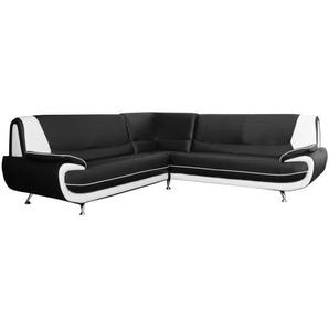 SPACIO Canapé dangle 6 places - Simili noir et blanc - Contemporain - L 245 x P 245 cm
