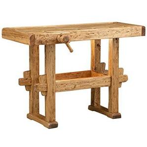 Etabli rustique style en bois massif de tilleul finition naturelle L130xPR73xH90 cm
