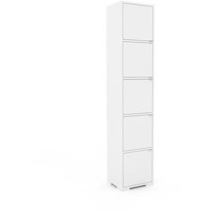 Meuble de rangements - Blanc, moderne, pour documents, avec porte Blanc - 41 x 196 x 35 cm, personnalisable