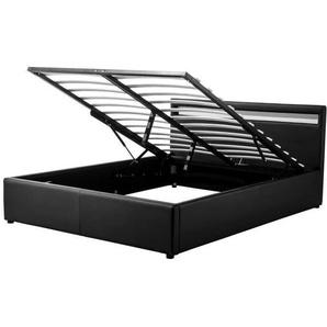 MARS Lit coffre adulte contemporain - Simili noir - Sommier et tête de lit avec LED inclus - l 160 x L 200 cm