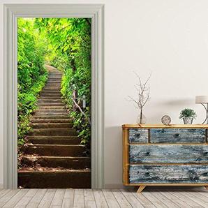 StickerProfis Poster de Porte Autocollant Porte Papier Peint Vert étapes-Papier Peint Photo pour Porte Affiche de Film