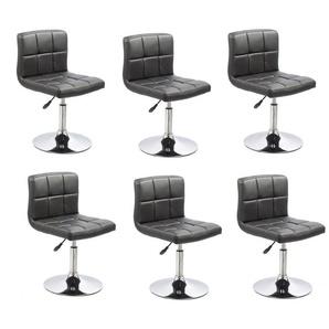 Lot de 6 chaises de salle à manger / cuisine simili-cuir noir hauteur réglable - DéCOSHOP26