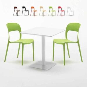 Table carrée 70x70 blanche avec 2 chaises colorées RESTAURANT MERINGUE | Vert - AHD AMAZING HOME DESIGN