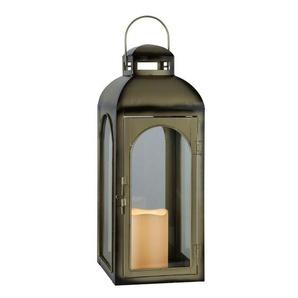 DOME-Lanterne LED Métal et Verre à piles H43cm bronze Best Season