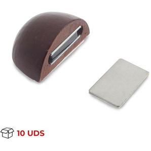 Boîte avec 10 Arrêt de porte avec aimant adhésif de marque REI, en bois, finition sapeli et design arrondi