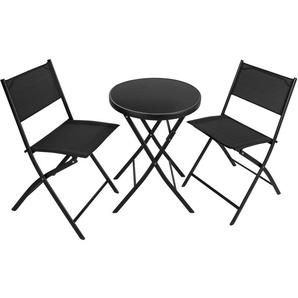 Salon de Jardin DÜSSELDORF 2 Personnes 1 Table et 2 Chaises Pliables en Acier et Textilène Noir - TECTAKE