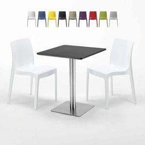 Table carrée 60x60 cm Base Argent E Top Noir Avec 2 Chaises Colorées ICE PISTACHIO | Blanc - GRAND SOLEIL