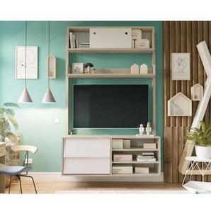 FINLANDEK Meuble TV HANNAH scandinave couleurs chêne et blanc - L 110 cm
