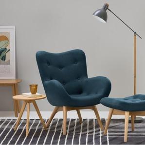 Doris, fauteuil dappoint, bleu shetland