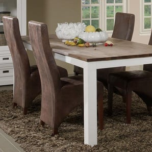 Grande table à manger contemporaine en bois massif blanc EMELINE