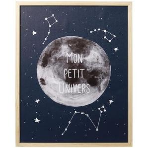 Tableau lumineux imprimé lune et étoiles 40x50