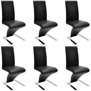 Chaise de salle à manger avec pieds en fer 6pcs Similicuir Noir