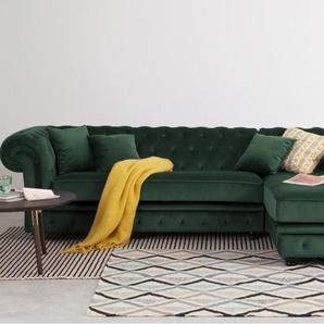 Branagh, canapé d'angle avec méridienne à droite, velours vert sapin