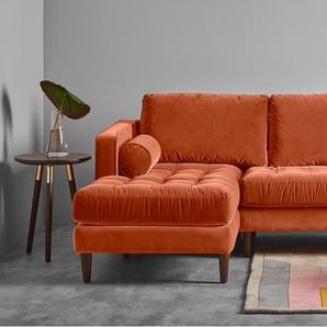 Scott, canapé d'angle 4 places avec méridienne à gauche, velours de coton orange brûlé