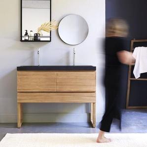 Meuble Salle de bain en bois de teck et pierre de lave 120 Edgar