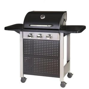 Barbecue à gaz 3 brûleurs mobile 4 roues - L 52 x l 126 x H 110 - MA MAISON MES TENDANCES