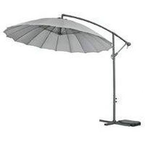 Parasol jardin déporté Alu Lili 3 - Style Japonais - Ø3m - Gris - HABITAT ET JARDIN