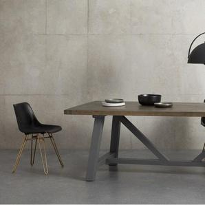 Iona, table, bois massif et gris