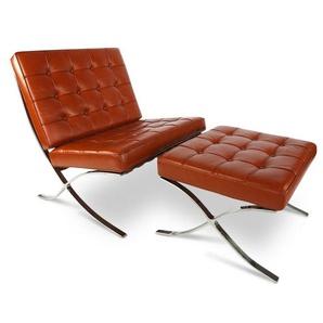 Chaise et ottoman Barcelona - Cognac