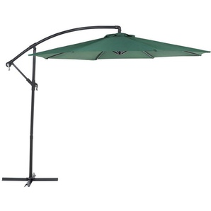Parasol avec pied déporté et toile verte - BELIANI