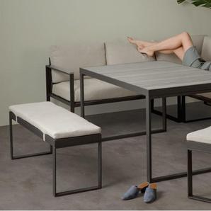 Catania, ensemble table, canapé d'angle et bancs d'extérieur en bois composite polywood, tissu crème et métal gris