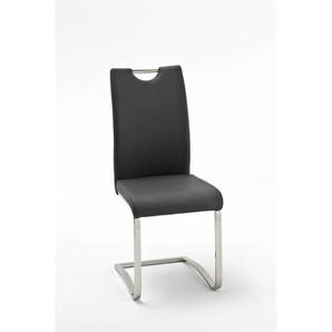 Chaise de salle à manger design en PU (lot de 4) Lonny Noir - Bleu, vert, jaune, orange, bordeaux, blanc, noir, rouge, gris, marron clair ou m - MATELPRO