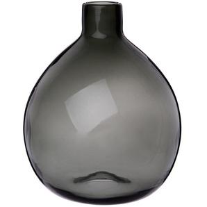 Vase boule en verre teinté gris foncé H26