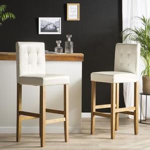 Chaise de bar en tissu blanc MADISON