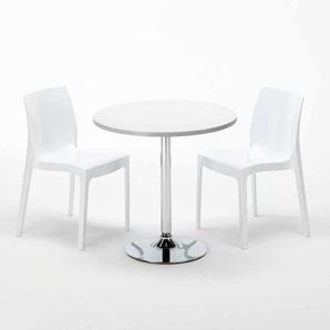 Table Ronde Blanche 70x70cm Avec 2 Chaises Colorées Grand Soleil Set Intérieur Bar Café ICE LONG ISLAND | Blanc