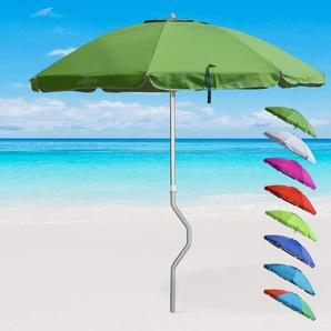 Parasol de plage aluminium léger visser protection UV GiraFacile 220 cm EOLO | Vert foncé