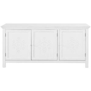 Buffet 3 portes en sapin blanc décor en relief Bianca