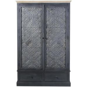 Armoire 2 portes 2 tiroirs gris foncé Wabi