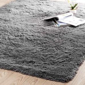 Tapis à poils longs en tissu gris 160 x 230 cm INUIT