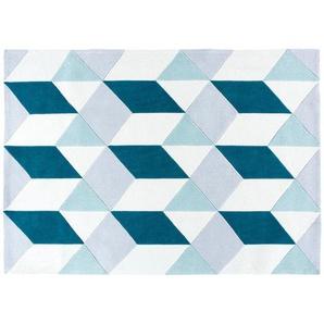 Tapis tufté motifs graphiques bleus 160x230