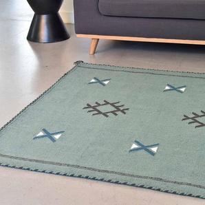 Tapis kilim rectangulaire en coton tissé main vert émeraude motif marocain 160x230 cm