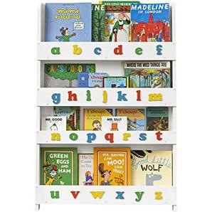 Tidy Books ® - Bibliotheque Enfant Blanche | Alphabet | Etagere Murale de Rangement pour Livres | Montessori a la Maison | Bois | 115 x 77 x 7 cm | Ecoresponsable | Fait Main | LOriginale depuis 2004