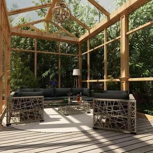 Salon de jardin 10 pcs avec coussins Résine tressée Gris - VIDAXL