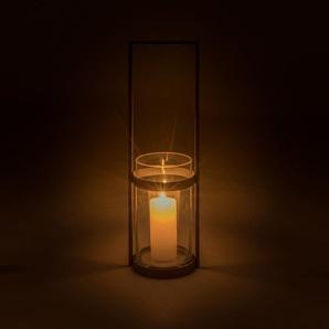 Lanterne en verre et acier gris anthracite H50xD18
