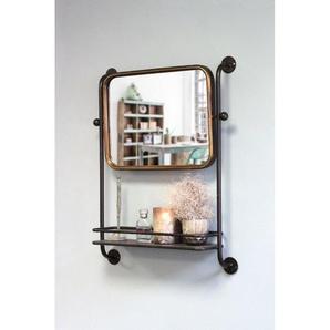 Miroir étagère Astoria en métal noir et doré - Boite à design