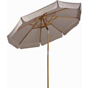 Sekey Parasol en Bois inclinable pour Patio Jardin Balcon Piscine Plage Ø 270 cm Rond Beige/Taupe protection solaire UV50+
