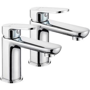 2x LONHEO Robinet pour lavabo et vasque Mitigeur de lavabo en HPB59-1 laiton Salle de bain WC Chrome