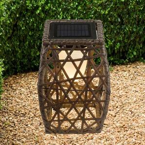 Lampe solaire Talora déco, aspect rotin, 27,5cm