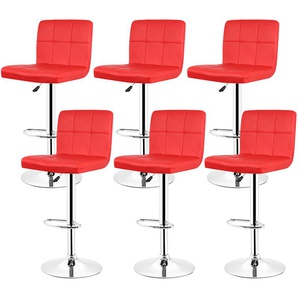 Tabouret Chaise de Bar Lot de 6 en Simili Cuir et Métal Réglable en Hauteur Rotatif Rouge - OOBEST