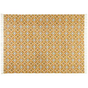 Tapis en coton motifs carreaux de ciment jaune moutarde 160x230cm